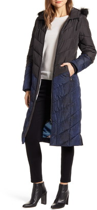 Ted Baker Hylea Faux Fur Hood Long Chevron Quilted Coat