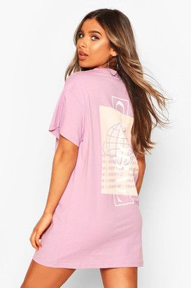 boohoo Petite 'Global' Back Slogan Oversized T-Shirt Dress