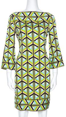 Diane von Furstenberg Green Printed Silk Andati Shift Dress S