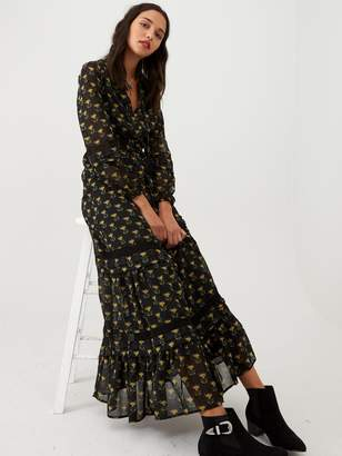 Very Belted Lace Insert Maxi Dress - Print