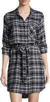 Velvet Heart Olsen Plaid-Print Tie-Waist Shirtdress, Navy