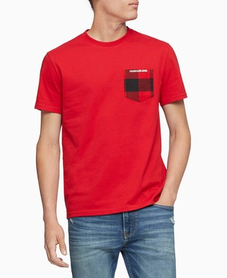 Calvin Klein Jeans Men's Men's Buffalo Plaid Crewneck Pocket T-Shirt Shirt
