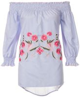 Quiz Blue And White Stripe Embroidered 3/4 Sleeve Top