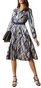 Ted Baker Lilis Mixed Print Lace-Up Midi Dress