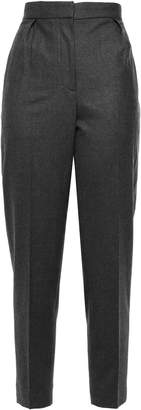 Theory Cropped Pleated Melange Wool-blend Tapered Pants