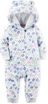 Carter's Baby Girls' Floral-Print Hooded Kangaroo-Pocket Jumpsuit