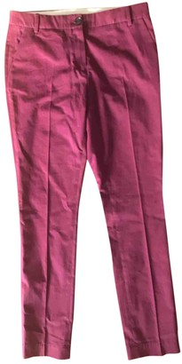 Lacoste Burgundy Cotton Trousers for Women