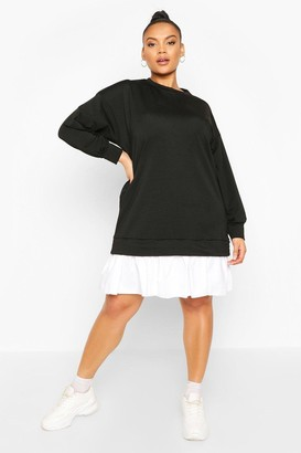 boohoo Plus Sweat Contrast Cotton Ruffle Dress