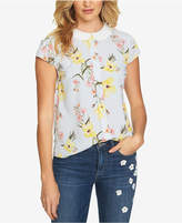 CeCe Printed Round-Collar Top