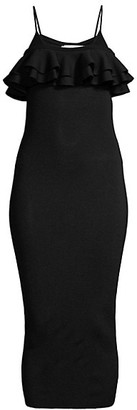 Victor Glemaud Ruffle Detail Bodycon Dress