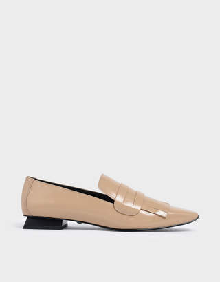 Charles & Keith Fringed Leather Loafers