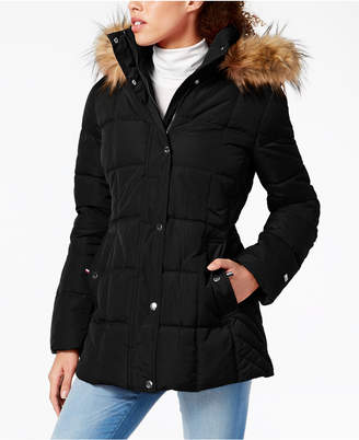 Tommy Hilfiger Petite Faux-Fur-Trim Hooded Puffer Coat