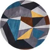 Rug Culture Modern Geo Wool Round Rug, Saffron, 120x120cm