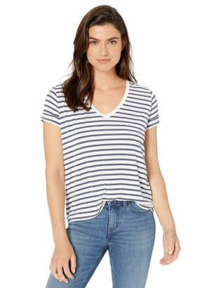 Majestic Filatures Women's Soft Touch' Stripe Short Sleeve V-Neck with Back Pleat