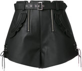 Self-Portrait belted lace-up shorts