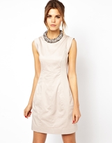 French Connection Dress With Crystalised Neckline