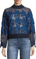 Sea Mosaic Lace Rib-Trim Sweatshirt