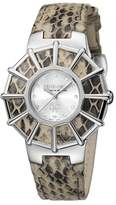 Roberto Cavalli Womens Cream Leather Strap With Silver Dial.