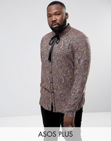 Asos PLUS Regular Fit Paisely Shirt With Neck Tie
