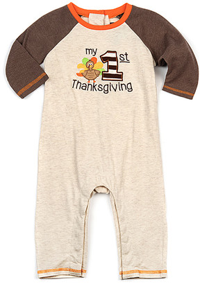 Good Lad Girls' Bodysuits TAN - Tan & Brown 'My 1st Thanksgiving' Playsuit - Infant