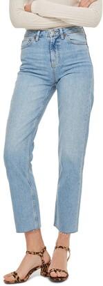 Topshop Raw Hem Crop Straight Leg Jeans