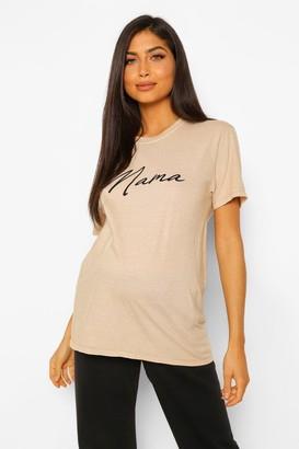boohoo Maternity Acid Wash Mama Slogan Tshirt