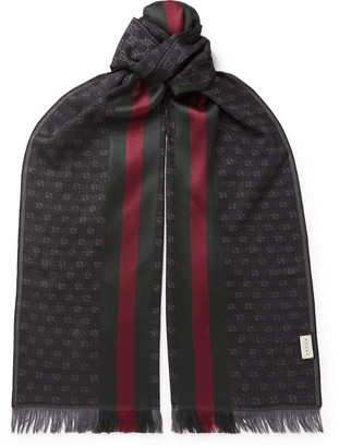 Gucci Fringed Logo-Jacquard Wool and Silk-Blend Scarf - Men - Gray