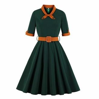 Wellwits Women's 1/2 Half Sleeves Sailor Tie Neck Vintage Christmas Dress S Green
