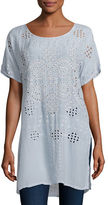 Johnny Was Scoop-Neck Slit-Side Georgette Tunic, Plus Size