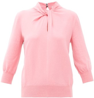 Erdem Rumer Twisted-neckline Cashmere-blend Sweater - Womens - Pink