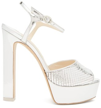 Sophia Webster Natalia Snake-embossed Leather Platform Sandals - Silver