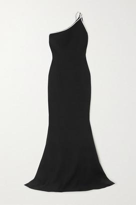 Safiyaa Electra One-shoulder Crystal-embellished Crepe Gown - Black