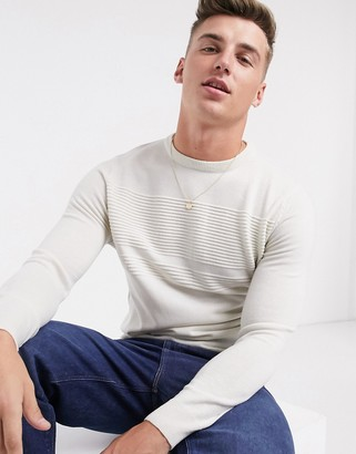 Brave Soul classic crew neck sweater in oatmeal
