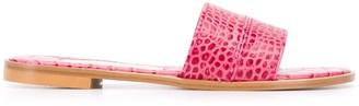 Avec Modération Crocodile Embossed Sandals