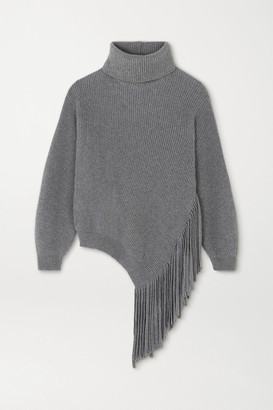 Stella McCartney Oversized Fringed Ribbed Cashmere And Wool-blend Sweater - Gray