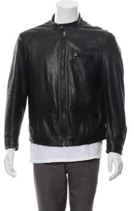 72ef9e1b Leather Café Racer Jacket black Leather Café Racer Jacket