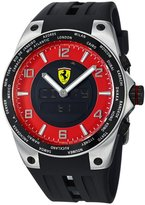Ferrari Men's FE-05-ACC-RD Black Rubber Swiss Chronograph Watch with Digital Dial