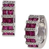 Effy 14K White Gold Ruby Hoop Earrings with 0.2 TCW Diamonds