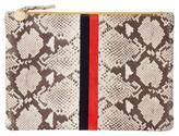 Clare Vivier Center Stripe Snakeskin Embossed Leather Clutch - Grey