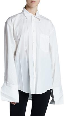 Balenciaga Cotton Poplin Long-Sleeve Collar Pleat Top