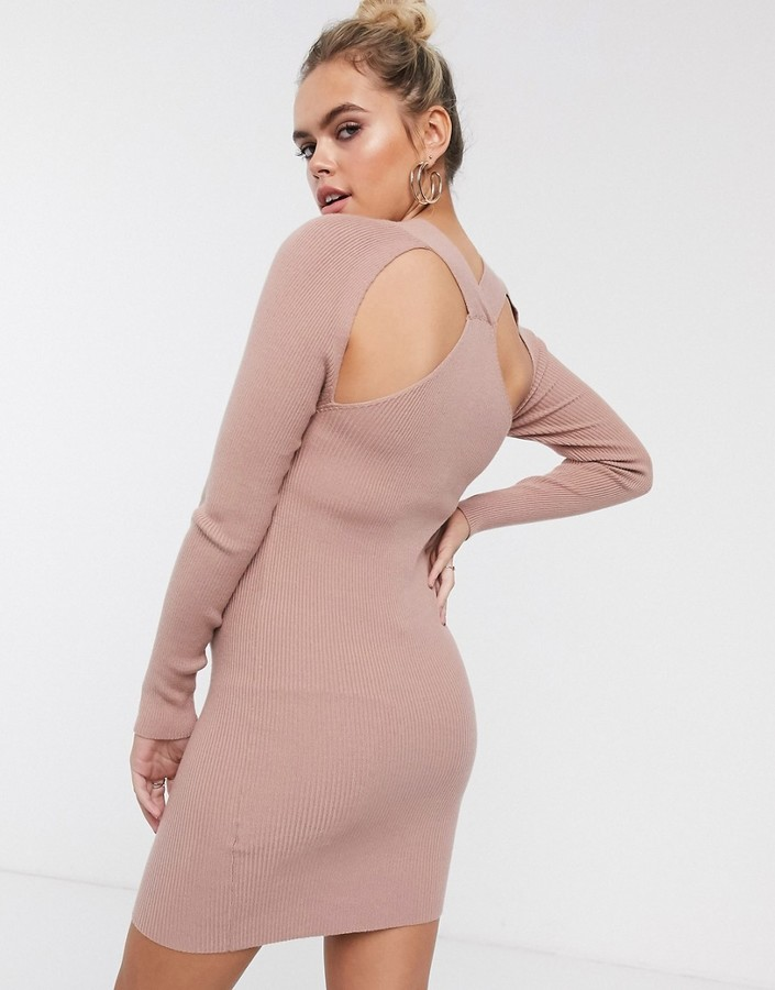 Thumbnail for your product : ASOS DESIGN Maternity cross neck knitted mini dress