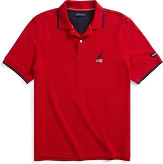 Nautica Men's Short Sleeve American Flag Logo Polo Shirt