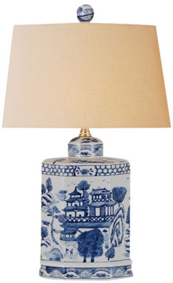 East Enterprises Inc Tea House Porcelain Table Lamp, Blue and White