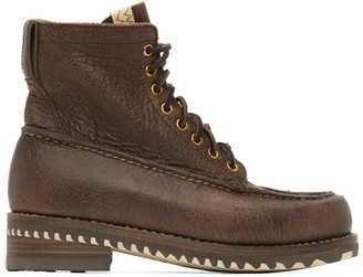 Visvim Brown Kainai Moc-Toe Folk Boots