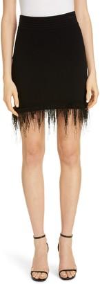 Balmain Fringe Hem Rib Sweater Miniskirt