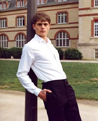 The Kooples White pique slim-fit cotton shirt