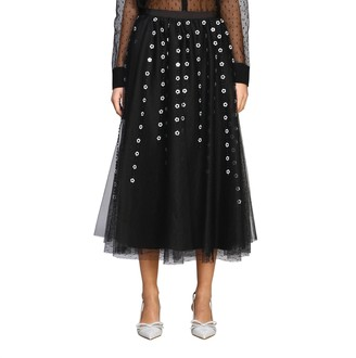 RED Valentino Long Skirt In Point D'esprit Tulle With Embroidery