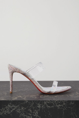 Christian Louboutin Just Strass 85 Crystal-embellished Pvc And Iridescent Leather Sandals - Silver