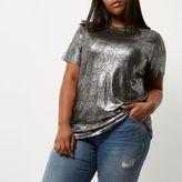 River Island Womens Plus silver metallic T-shirt