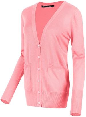 Urban GoCo Women's Long Sleeve Button Down Basic Cardigan Sweater (L